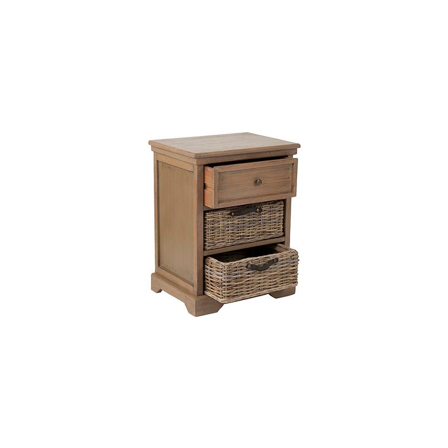 Simone Grey Side Table 1 Drawer 2 Baskets 20x14x25