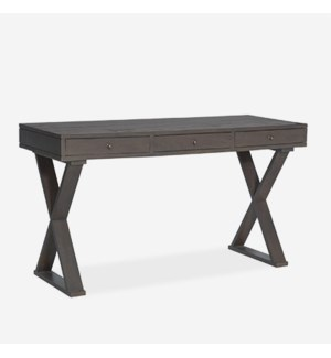 "Newbury 55"" Solid Wood Desk With X Base In Grey Wash (K/D) (55x22x30)"