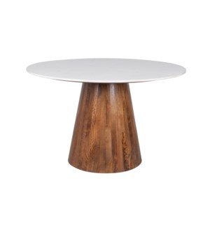 "Edie 48"" Round Marble Dining Table, Light Oak Base"