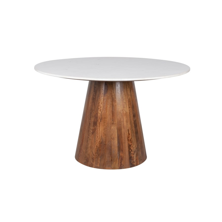 """Edie 48"""" Round Marble Dining Table, Light Oak Base"""