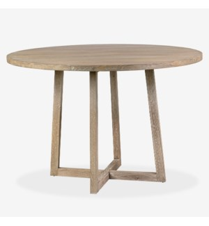 "47"" Devon Round Dining Table, Light Brown"