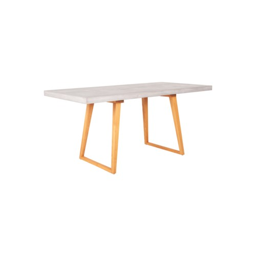 Hutton Concrete Top Dining Table with Wooden Leg, Gray