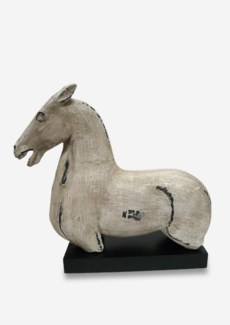 (LS) Antique Stone Horse Statue on Wood Base in White (18X7.5X17)....