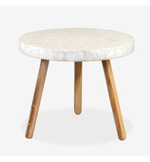Estelle Round Capiz End Table - White