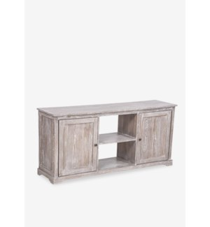(LS) Jules White Wash  Media Cabinet With 2 Doors and 2 Shelves (59x15.2x27.6)