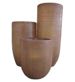 Palm Fiber Standing Set of 3-Weaving Motive (17x17x49)