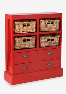 (SP) Nantucket Storage Cabinet (4baskets + 4 drawers) - Antique Red (30x9.5x35)