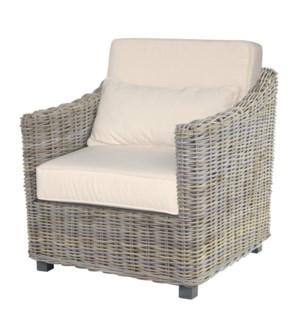 Capri Club Chair - Seat+back cushion, Kubu Grey Color (29.5x31x28.7)