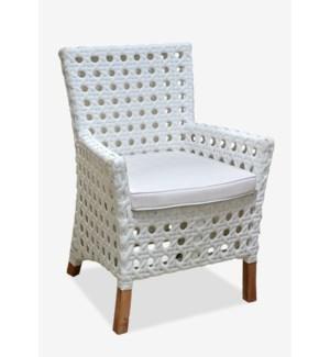 Derby Arm Chair W/ Sunbrella Cushion-Outdoor (Polystrap Milky White 15mm Ecolene) (25X25X35)
