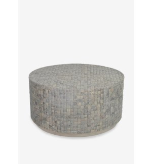 (LS) New Hampton Round Cocktail Table-Smoke Grain Grey Color (37X37X18.5)....