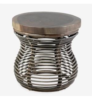 (LS) Orinda Side Table w/ Wood Top - Grey Wash..Dimension: 20x20x20