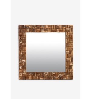 (LS) Wooden Bark Square Mirror (35X2X35)