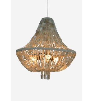"(LS) 32""H Teardrop shape capiz strand chandelier - Large -Grey ..Dimension: 31x31x32"