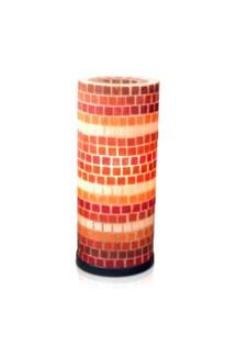 (LS) Tuscan fiberglass mosaic (red/orange/natural) tbl lamp-M (8X8X21)