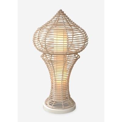 (LS) Siena decorative floor lamp L w/white wash rattan -M (21x21x40)