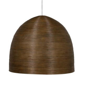 (SP) Spiral Dome Rattan Core Chandelier With 3 Bulbs in Brown Grey Wash Finish (35x35x31)