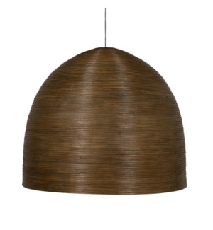 "Spiral Dome ChandelierRattan Core/3 Std BulbsBrown Grey Wash Shade 35""w x 31""h"