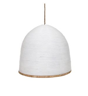 "35"" Kira Rattan Dome Chandelier, White and Natural(**40"" cord, not adjustable)"