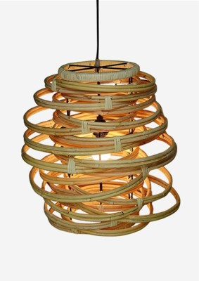 (LS) Oceola Hanging Lamp - Kubu Natural (18x18x19)