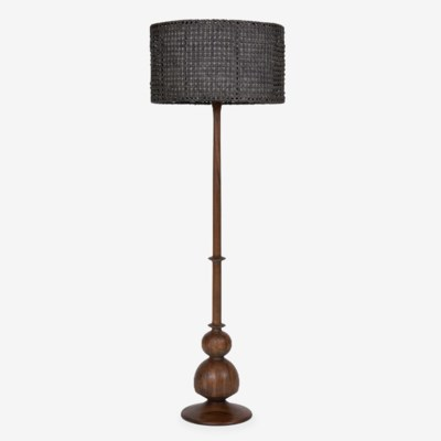 (LS) Bishop Table Lamp W/Turned Wood Base (12X12X53) (2 boxes/ piece)