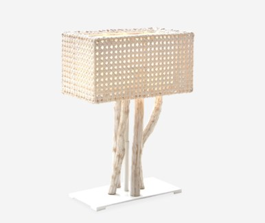 (LS) Jungle Table Lamp White Wash With Rectangular Shape (18X10X25) (2 boxes per piece)