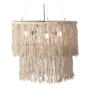 Bryer Fringe Drum Chandelier with Leather Tassles (28x28x22)..