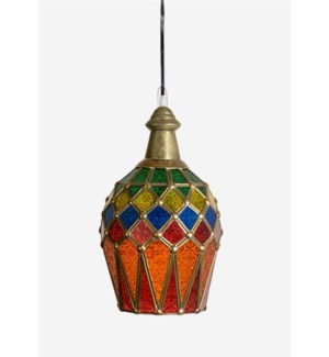 (LS) Majestic C Pendant lamp with metal accents (7X7X16)