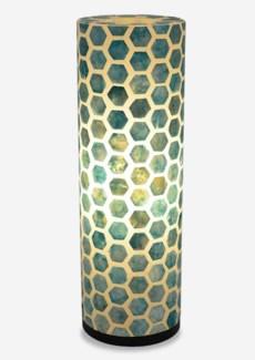 (LS) Octagon Pattern Capiz Table Lamp-Large-Turquoise..(8x8x25)..