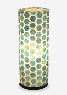 (LS) Octagon Pattern Capiz Table Lamp-Medium-Turquoise..(8x8x21)..