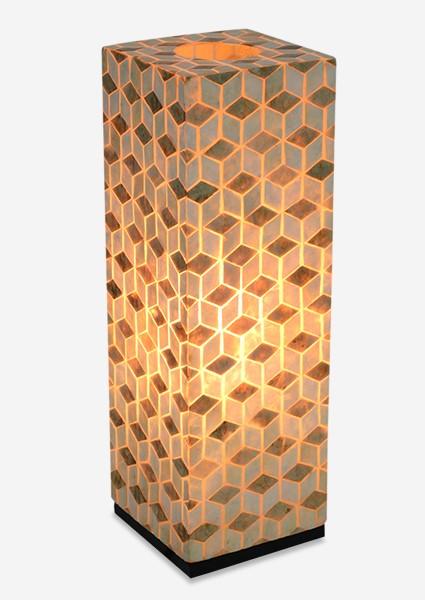 LS) Stream Capiz Table Lamp Large..(8x8x25)....   Capiz ...