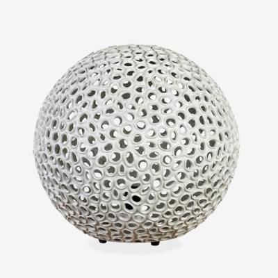 "(LS) 14"" Elara Round Fiberlass Lamp - Grey (14X14X14)"