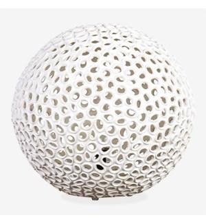 """(LS) 20"""" Elara Round Fiberlass Lamp - White (20X20X18)"""