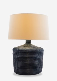 """Handwoven Indigo Blue Seagrass Table Lamp with Round Shade (13x13x25)""""2 BOXES PER ITEM"""""""