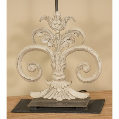 (LS) Antique Scroll Table W/White shade-White Wash