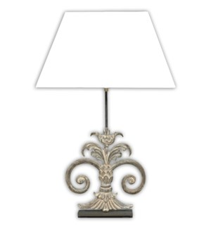 (LS) Antique Scroll Table W/White shade-Antique