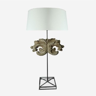 (LS) Tall Scroll Table Lamp W/White Cotton Shade