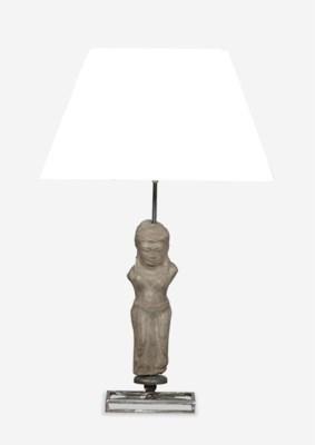 (LS) Stone Statuette Table Lamp W/Cotton Shade