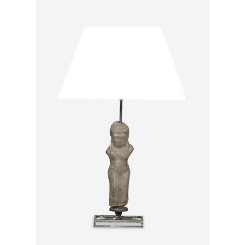 (LS) Stone Statuette Table Lamp W/Cotton Shade