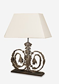 (LS) Infinity table Lamp W/White Cotton Shade-Antique finish