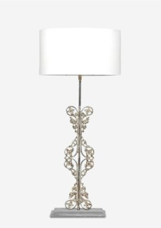 """(LS) 25"""" Tall Scroll Table Lamp W/Antique Scroll Iron Base and White Cotton Shade"""