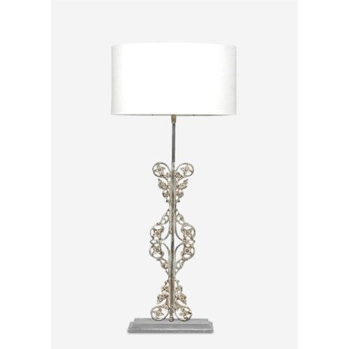 """25"""" Tall Scroll Table Lamp W/Antique Scroll Iron Base and White Cotton Shade"""