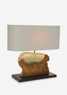 """(LS) 22"""" W Barlow Icy Free form Teakwood Block with Recycled Glass Base Lamp (22x8x20)..Material..."""