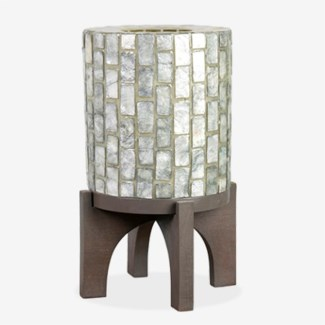 """(LS) 14.5"""" H  Apolo Vertical Capiz Table Lamp with Wood Base - GW (9x9x14.5).."""