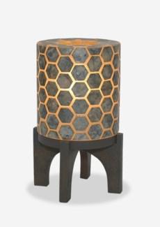 "(LS) 14.5"" H Apolo Hexagon Pattern Capiz Lamp With Wood Base - GW (9x9x14.5).."