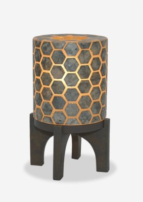 "(LS) 14.5"" H Apolo Hexagon Pattern Capiz Lamp With Wood Base - GW (9x9x14.5).."