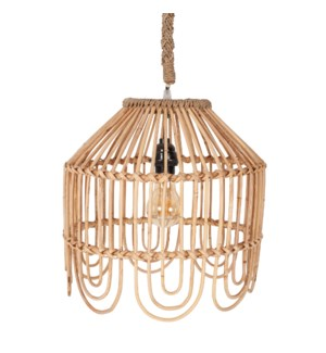 "13"" Maris Rattan Scalloped Edge Pendant, Natural(**40"" cord, not adjustable)"