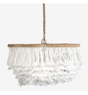 """24"""" Lily Tiered Fringe Pendant, White"""
