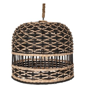 "Berlian 14"" Round Rattan/Seagrass Pendant, Natural/Black(**40"" cord, not adjustable)"