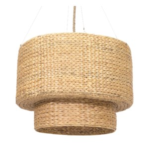 "Raja 32"" Double Drum Seagrass Chandelier-Natural(**40"" cord, not adjustable)"