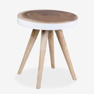 Milan Large Round Organic Side Table - WH